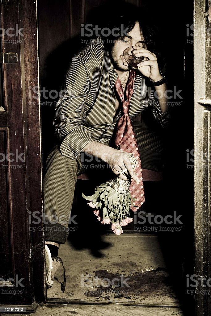 Drinker in old elevator - series royalty-free stock photo