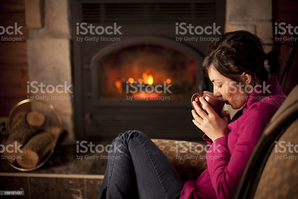 Drinking a hot coffee stock photo