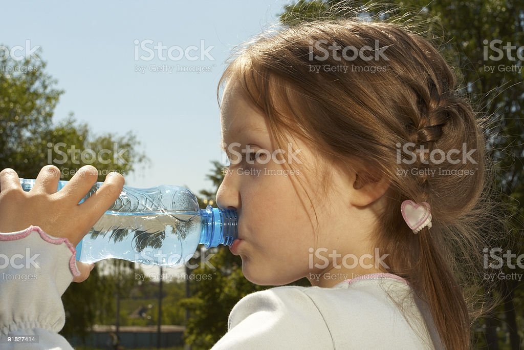drinking a water stock photo