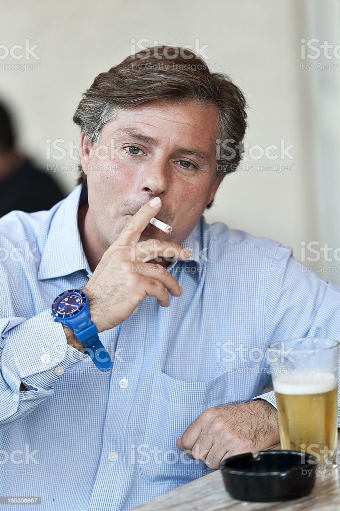 Drinking and smoking royalty-free stock photo