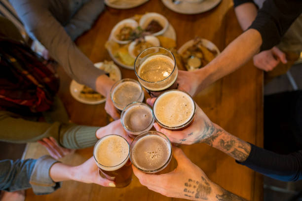Drinking Beer with Great Friends stock photo