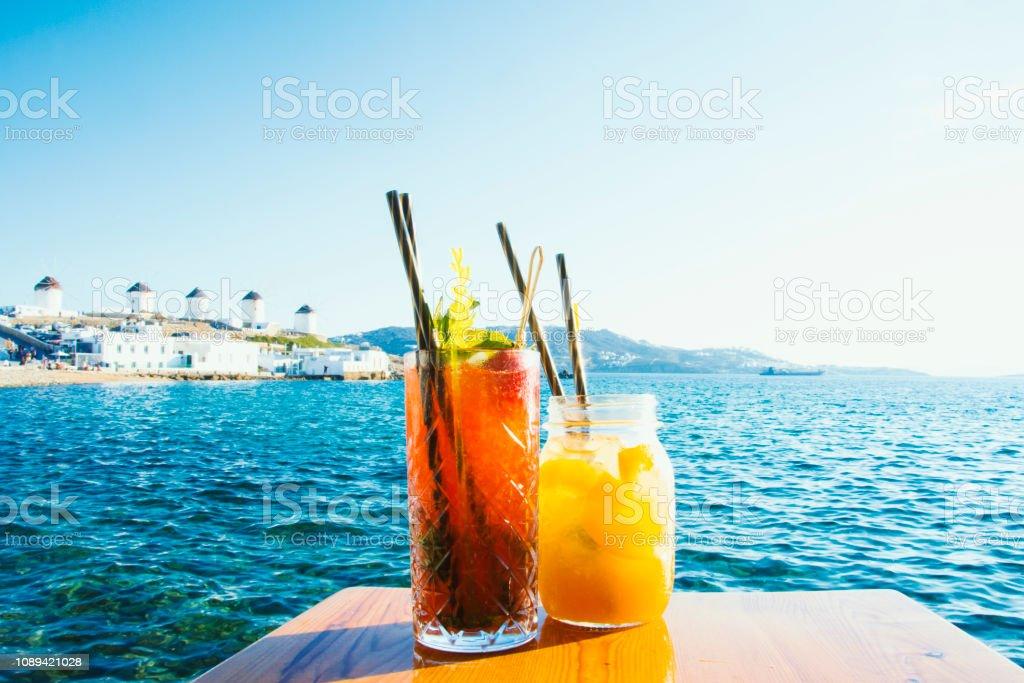 Drinking Cocktails in Mykonos stock photo