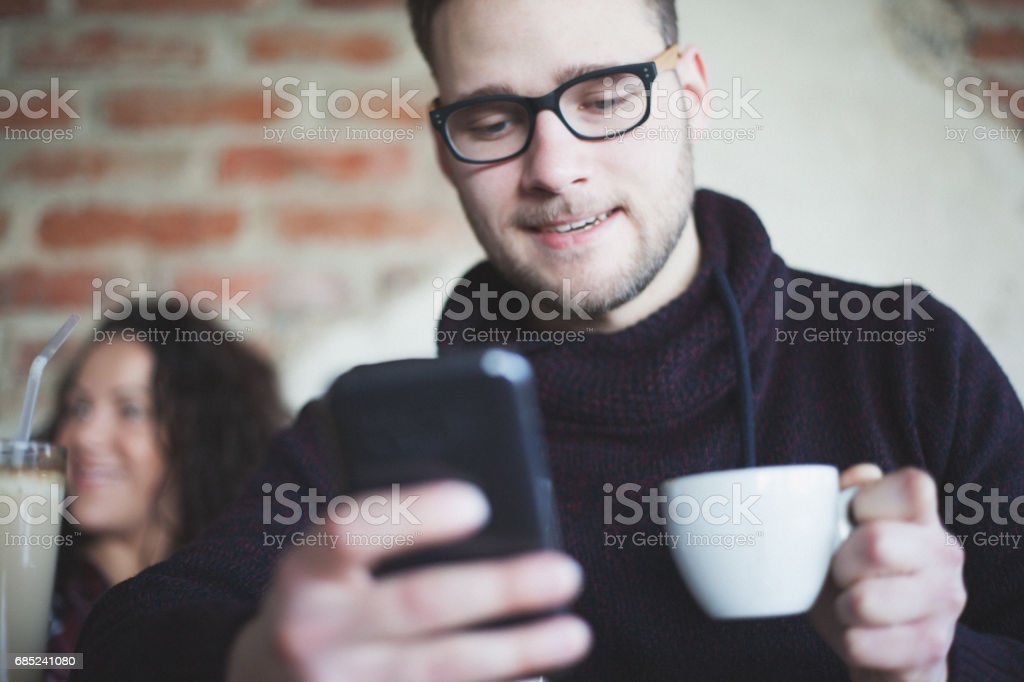 Drinking coffee and enjoying in day royalty-free stock photo