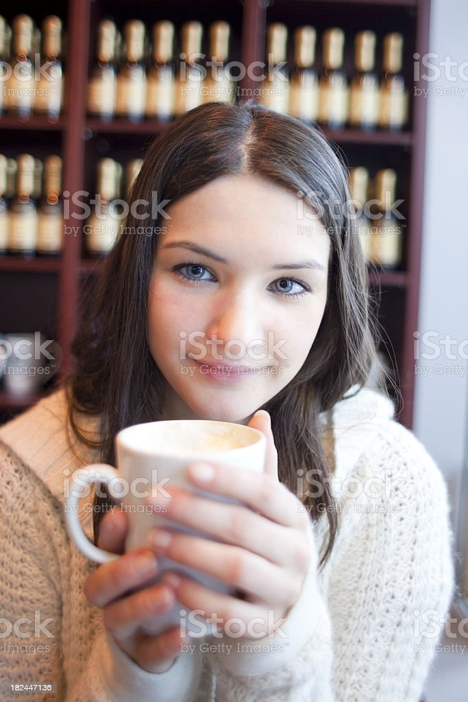 Drinking Coffee and Smiling royalty-free stock photo