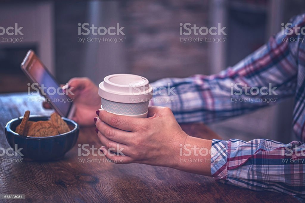 Drinking Coffee from Coffee to Go Cup royalty-free stock photo