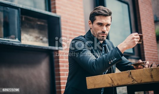 istock Drinking coffee in cafe 639223296