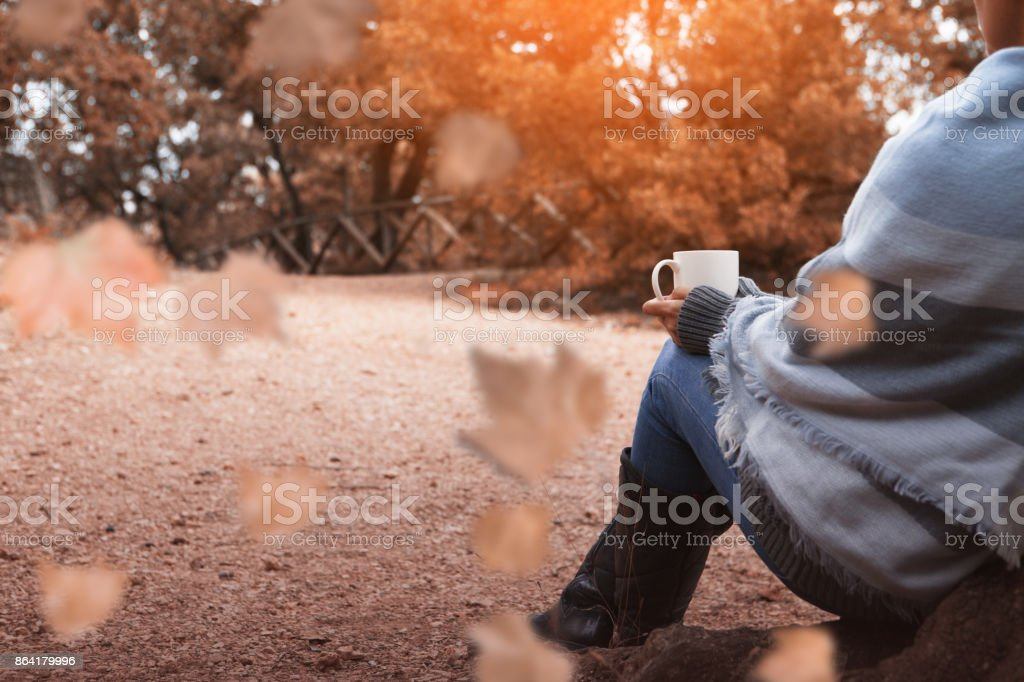 Drinking coffee in the autumn forest royalty-free stock photo