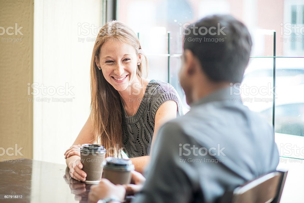 Drinking Coffee on a First Date stock photo