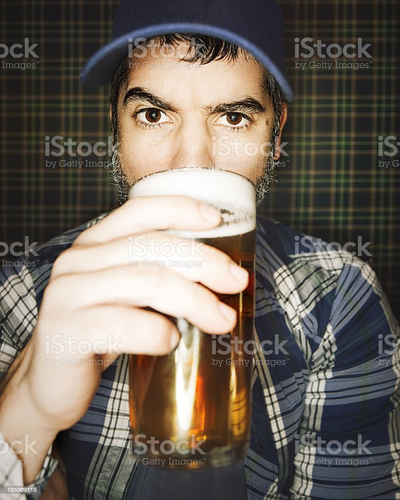 Drinking craft beer. stock photo