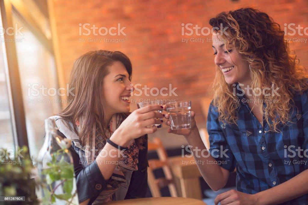 Drinking detox mint water stock photo