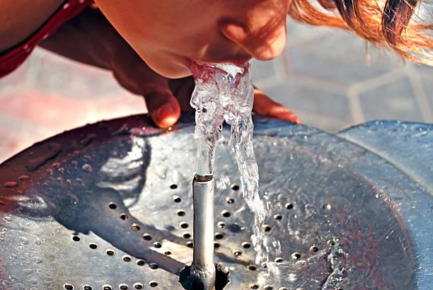 drinking from water fountain - çeşme i̇nsan yapımı yapı stok fotoğraflar ve resimler