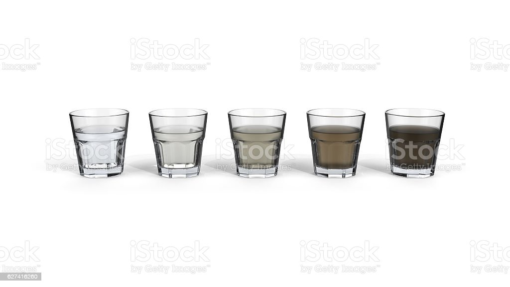 Drinking glasses with tap water of different quality. stock photo