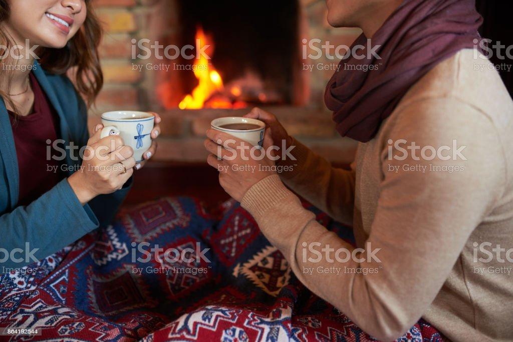 Drinking hot chocolate royalty-free stock photo