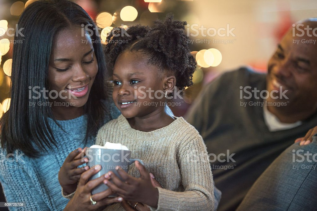 Drinking Hot Chocolate Together stock photo