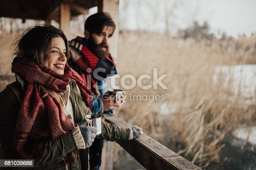 istock Drinking hot cocoa to keep themselves warm 681039686