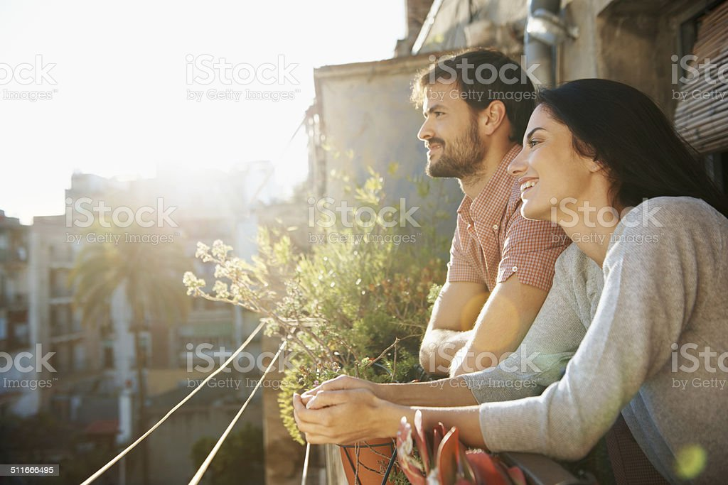 Drinking in the beauty of the morning stock photo