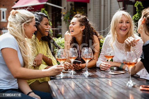 A group of female friends drinking and laughing together outdoors in the summer.
