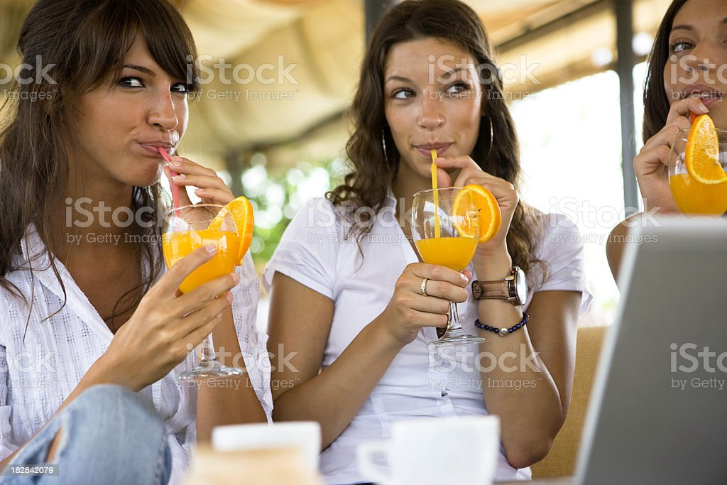 Drinking juice royalty-free stock photo