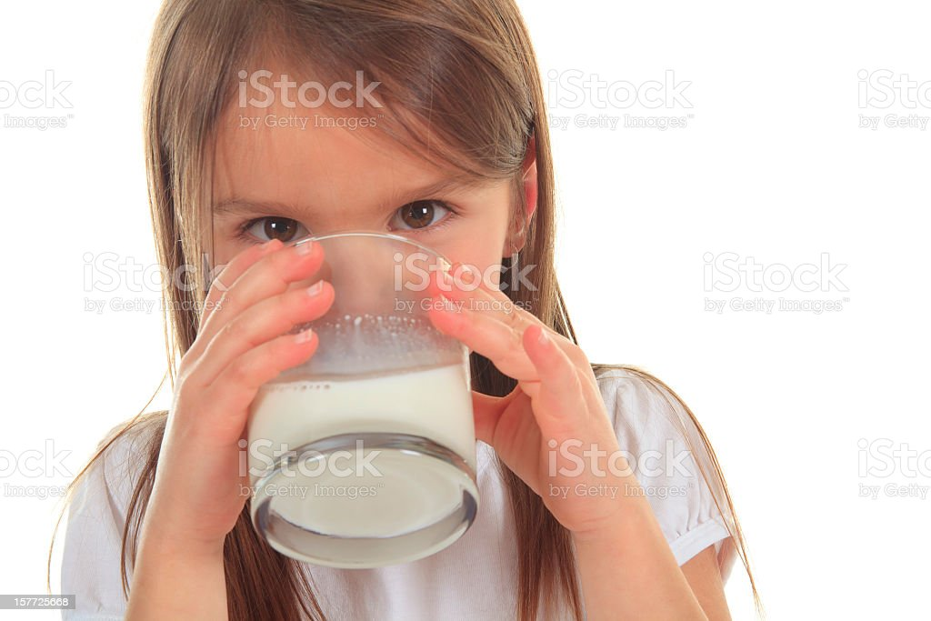 Drinking Milk Little Girl royalty-free stock photo
