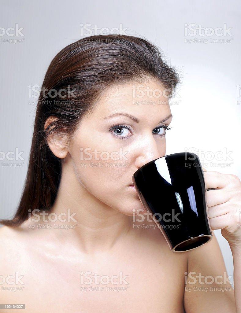 Drinking morning coffee royalty-free stock photo