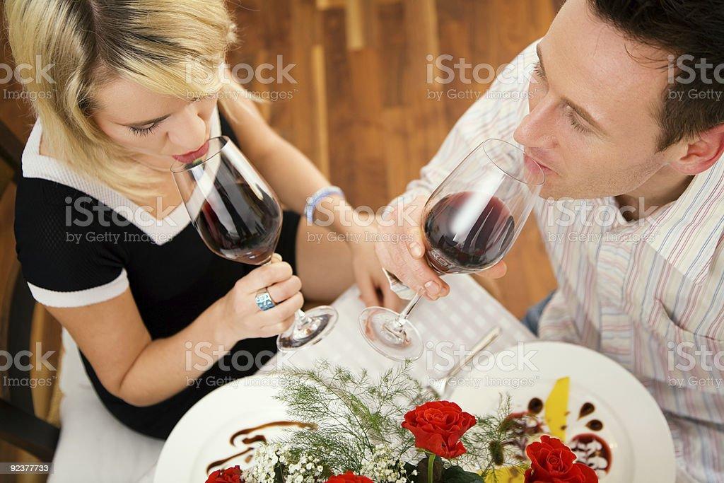Drinking red wine stock photo