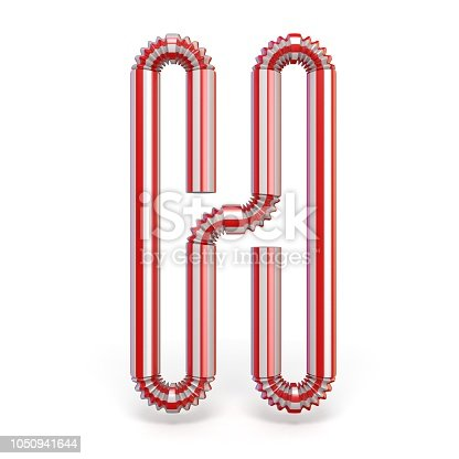 1050941648 istock photo Drinking straw font Letter H 3D 1050941644