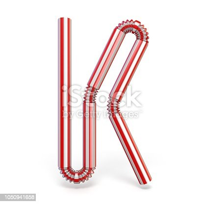 1050941648 istock photo Drinking straw font Letter K 3D 1050941658