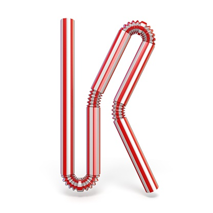istock Drinking straw font Letter K 3D 1050941658