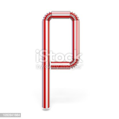 1050941648 istock photo Drinking straw font Letter P 3D 1050941664