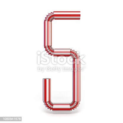 1050941648 istock photo Drinking straw Number 5 FIVE 3D 1050941578