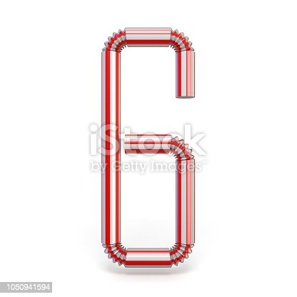 1050941648 istock photo Drinking straw Number 6 SIX 3D 1050941594