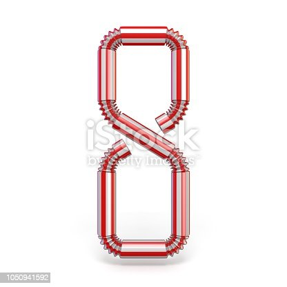 istock Drinking straw Number 8 EIGHT 3D 1050941592