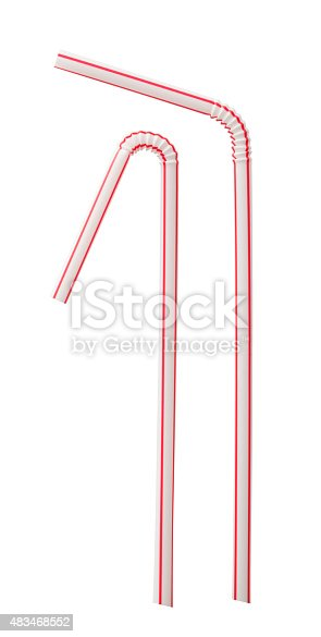 Drinking straw, Isolated on white, Clipping path