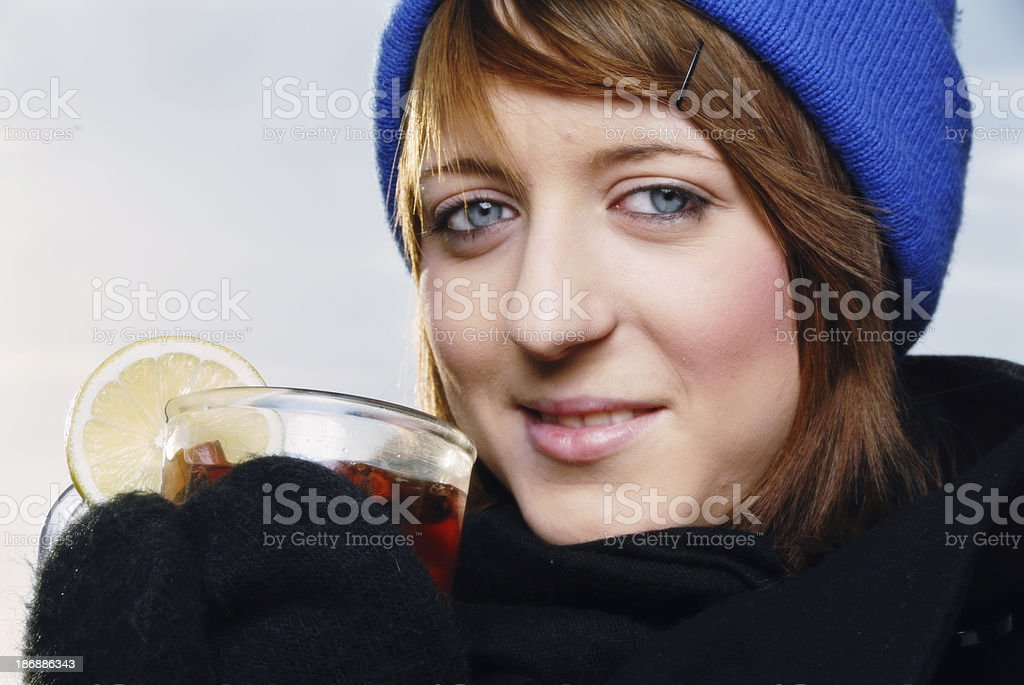 drinking tea in winter stock photo