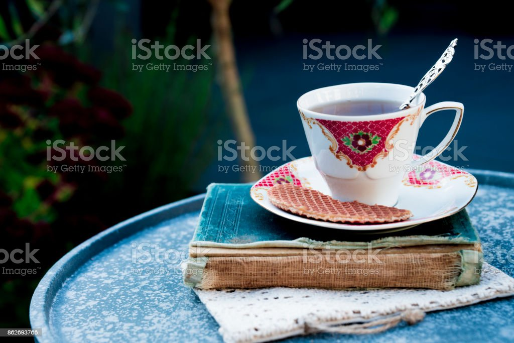 drinking tea, reading a book in garden, with Dutch traditional cookie stroopwafels, in garden stock photo