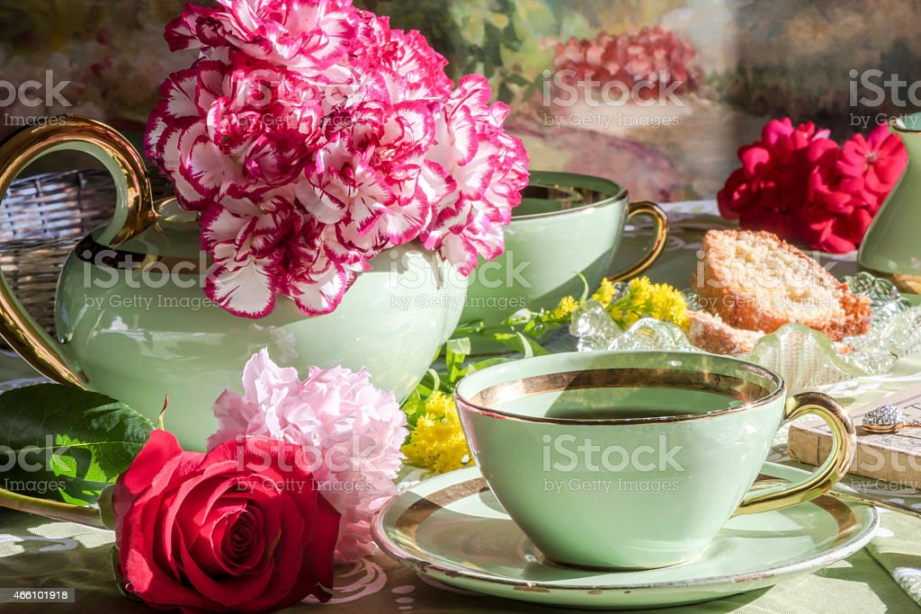drinking tea, Tea time , morning or afternoon stock photo