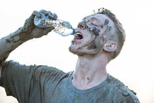 687723318 istock photo Drinking Water After a Race 687722946