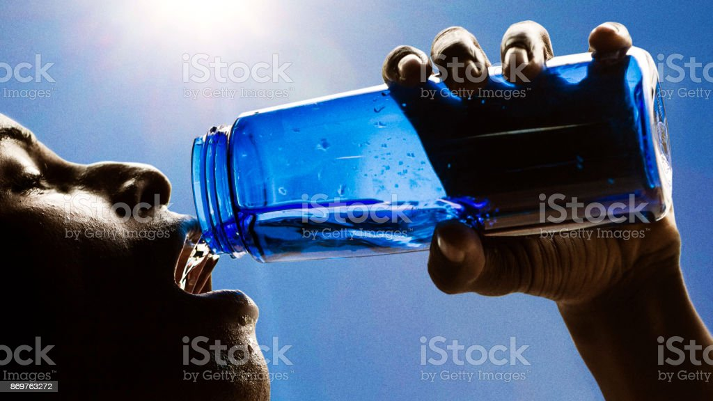 Drinking Water after Exercising stock photo