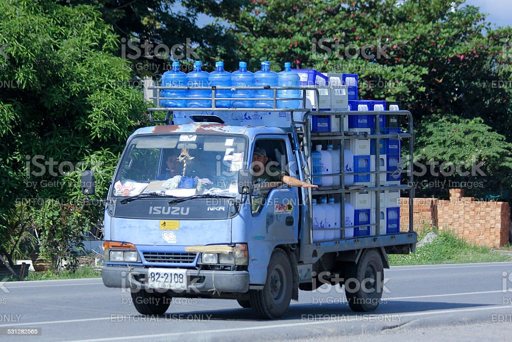 Drinking water delivery truck of Glacier company. stock photo
