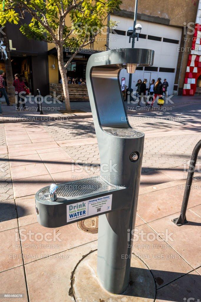 Drinking Water Station on Third Street Promenade, Santa Monica, USA stock photo