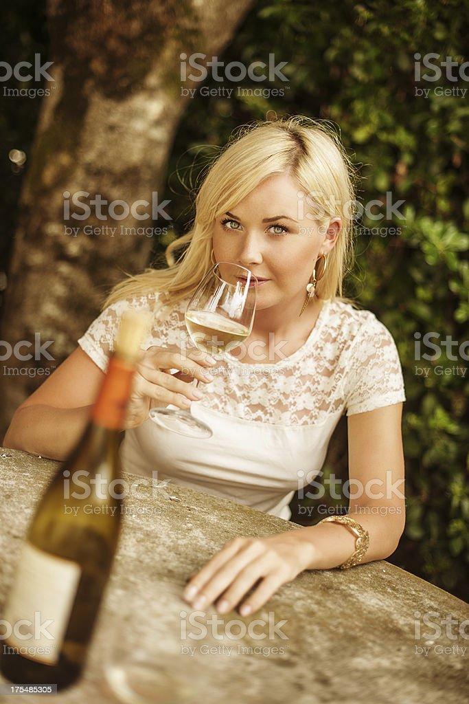 Drinking white wine stock photo