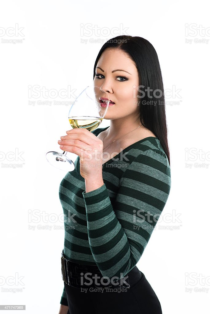 Drinking white wine royalty-free stock photo