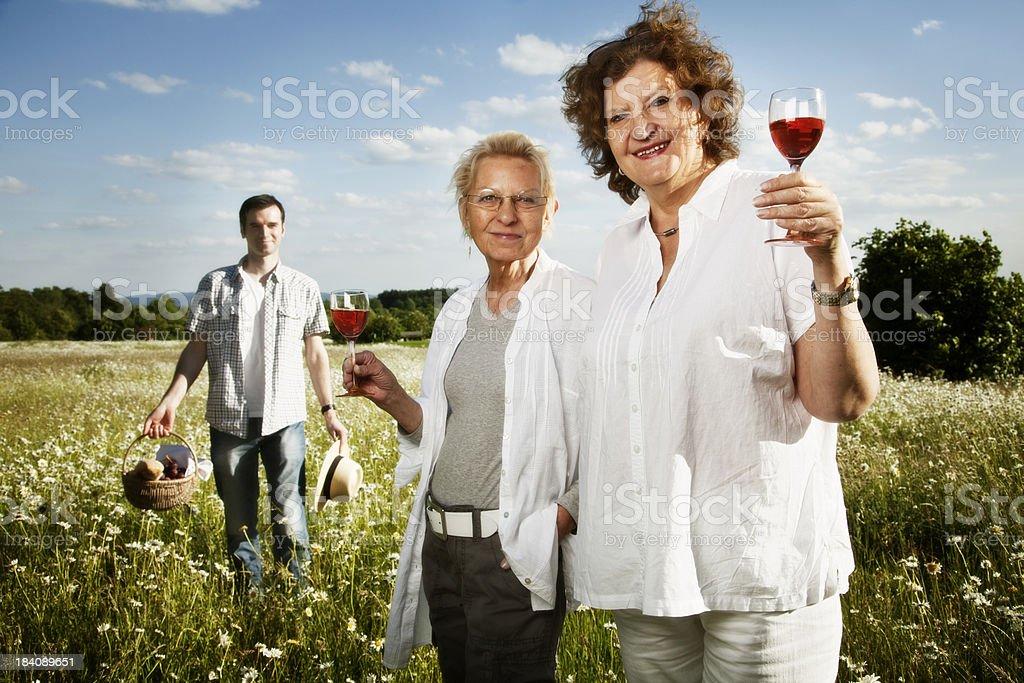 drinking wine at picnic royalty-free stock photo
