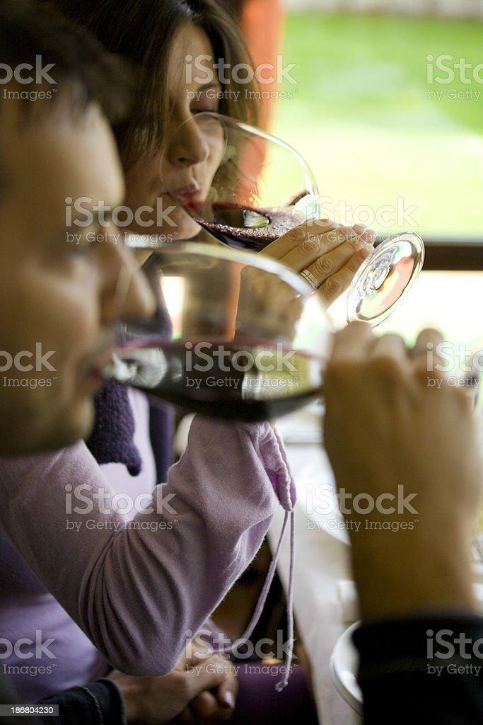 Drinking wine royalty-free stock photo