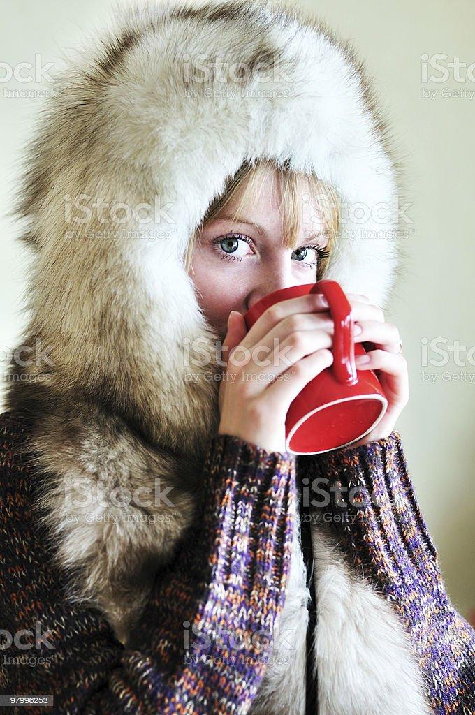drinking winter girl royalty-free stock photo