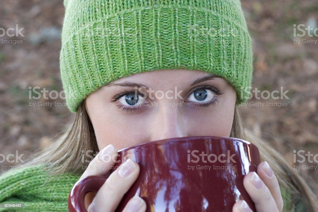 Drinking Woman royalty-free stock photo