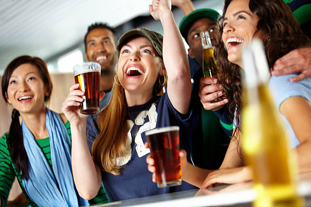 Drinks and sports with friends! stock photo