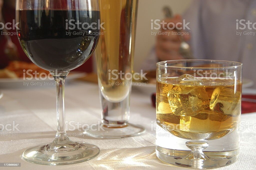 Drinks at a restaurant stock photo