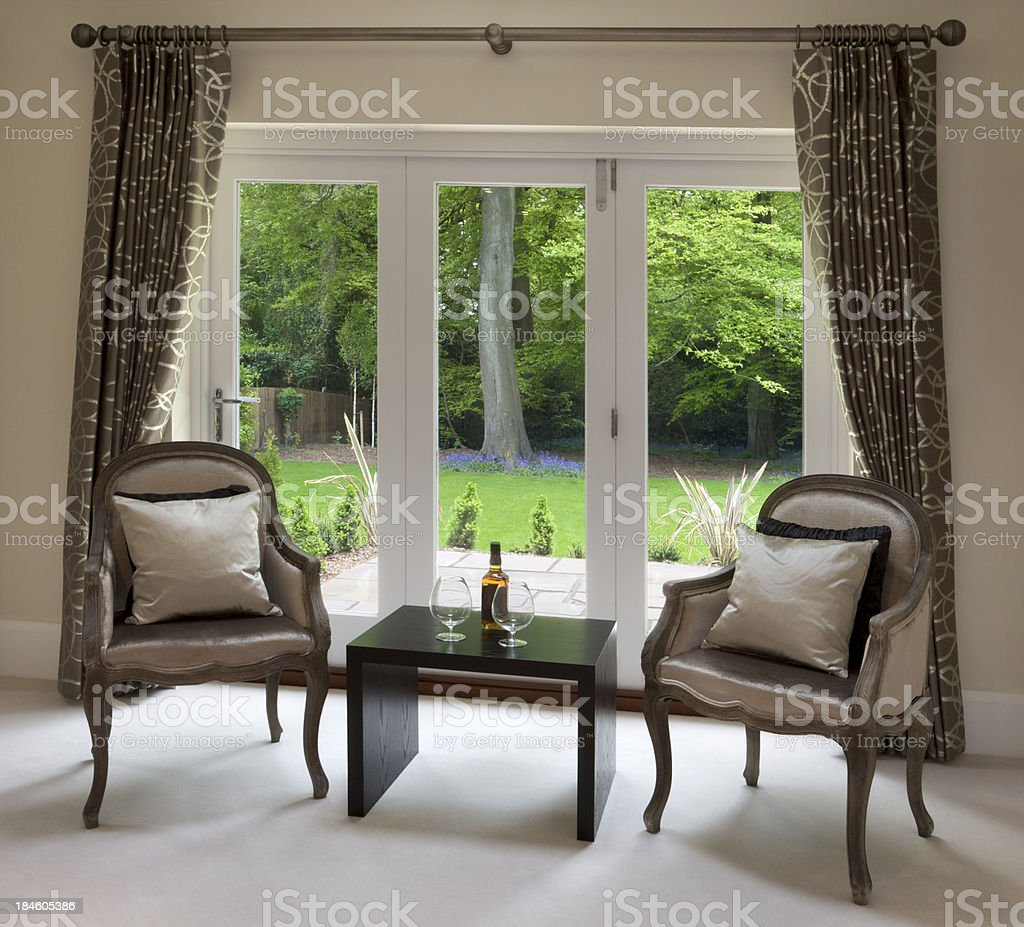 drinks by the garden window royalty-free stock photo