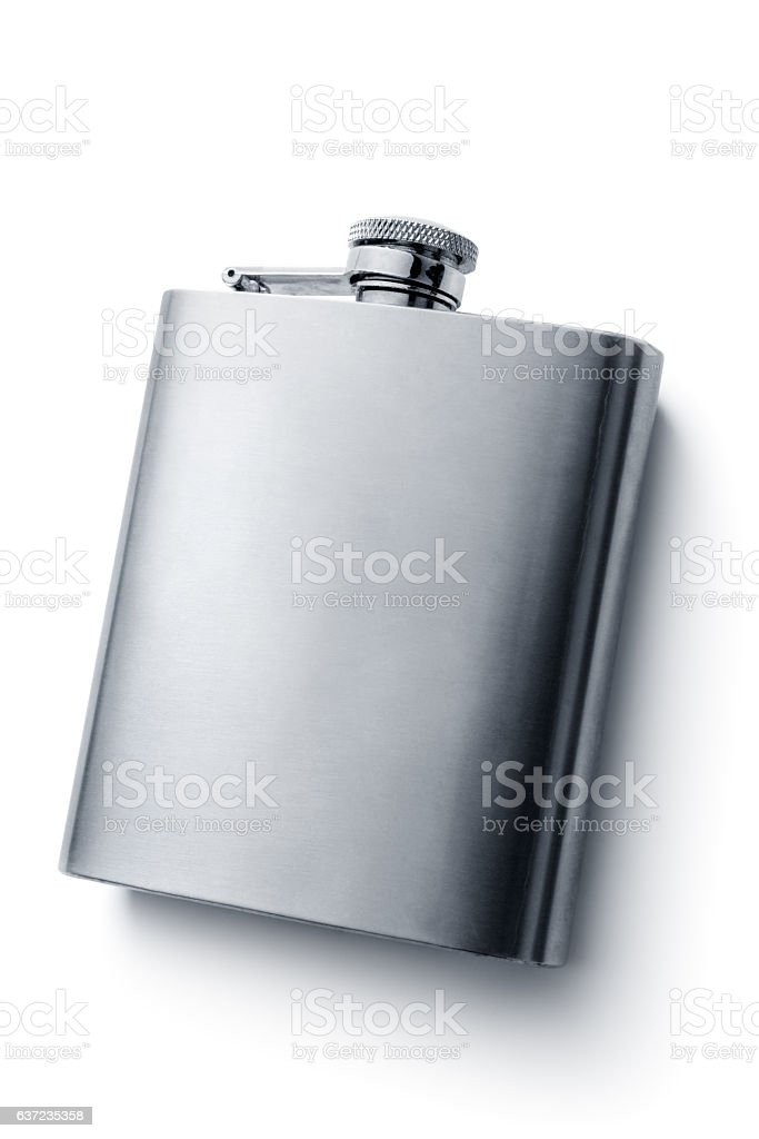 Drinks: Hip Flask Isolated on White Background - foto stock